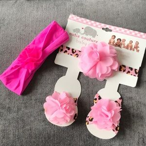 New Pink Baby Headwrap, Foot Bands Set